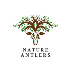 deer tree leaves forest logo icon vector image