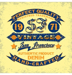 Denim typography print vector image