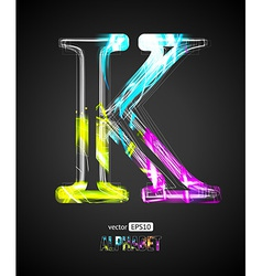Design Light Effect Alphabet Letter K vector image
