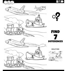 differences educational game with vehicles vector image