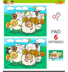 Differences game with sheep and rams characters vector