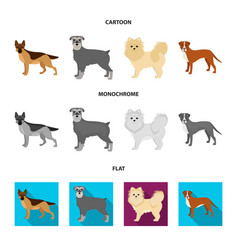Dog breeds cartoonflatmonochrome icons in set vector