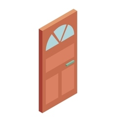 Door with glass icon cartoon style vector