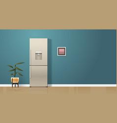 Double door refrigerator in modern kitchen vector
