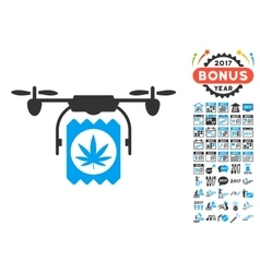 Drone Cannabis Delivery Icon With 2017 Year Bonus vector image