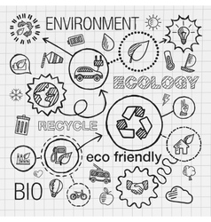 Ecology infographic hand draw icons sketch vector image