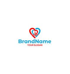 Electrocardiography hearth care logo design vector