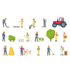 Farmer busy with seasonal work vector