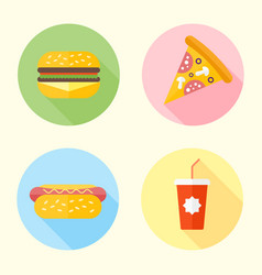 fast food flat design round icons with long shadow vector image
