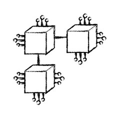 Figure squares digital connections with circuits vector