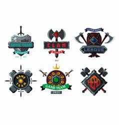 game emblem set cyber sport team signs vector image