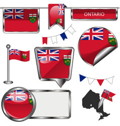 Glossy icons with flag of province ontario vector