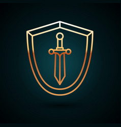 Gold line medieval shield with sword icon isolated vector