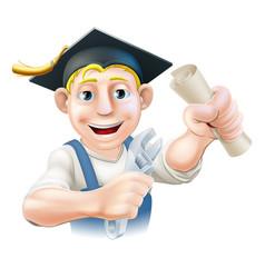graduate plumber or mechanic vector image