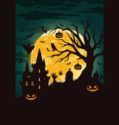 Halloween night vintage template vector