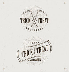 Halloween trick or treat logos vector