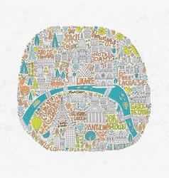 handdrawn paris map vector image