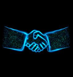 handshake polygon mesh teamwork people vector image