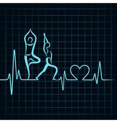 Heartbeat make a yoga girl and heart symbol vector