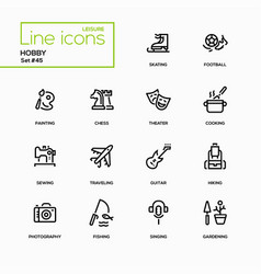 hobby - line design icons set vector image