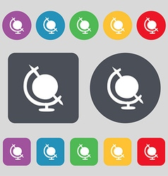 icon world sign A set of 12 colored buttons Flat vector image