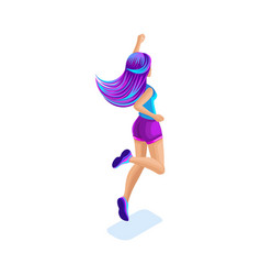 Isometrics girl jumping having fun happy with vector