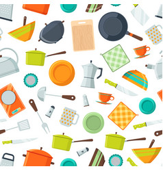 kitchen utensils flat icons background or vector image