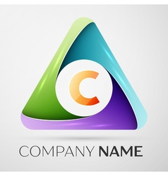 Letter C logo symbol in the colorful triangle vector