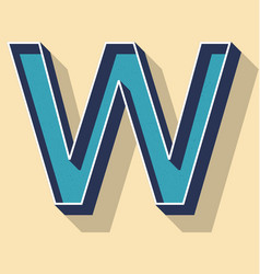 Letter w retro text style fonts concept vector