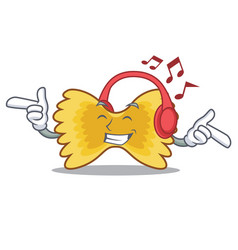 Listening music farfalle pasta mascot cartoon vector