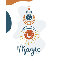 Magical card with lettering vector