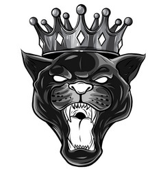 monochromatic black panther with crown on his head vector image
