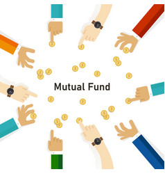 Mutual fund hand with money coin invest to fund vector