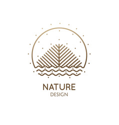 nature linear logo landscape vector image