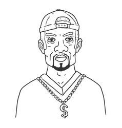 Outline character - afroamerican man in hip-hop vector