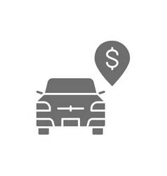 Paid parking toll parking grey icon vector