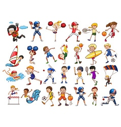 People practicing different sports vector