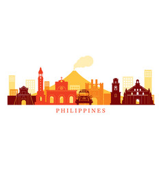 Philippines architecture landmarks skyline shape vector