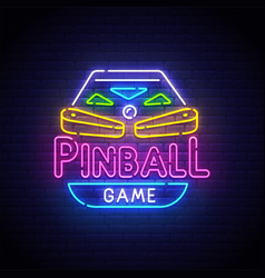 pinball neon sign bright signboard light banner vector image