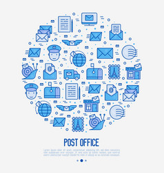 post office concept in circle with thin line icons vector image
