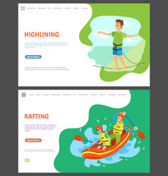rafting and highlining people summer hobset vector image