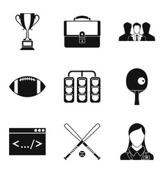 record icons set simple style vector image
