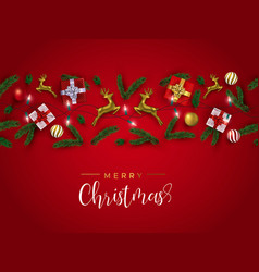 red and gold christmas 3d ornament layout card vector image