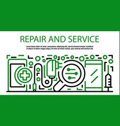 Repair and service smartphone banner outline vector