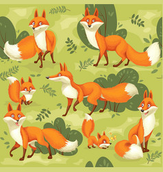 seamless pattern from cute cartoon orange foxes vector image
