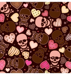 Seamless pattern with skull and sweetmeat in form vector