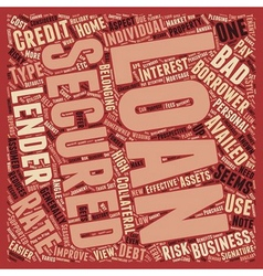 Secured Loan text background wordcloud concept vector