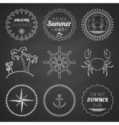 set 9 design summer elements frames borders vector image