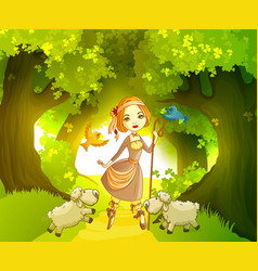 shepherdess with lambs in front forest vector image