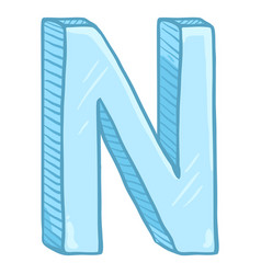Single cartoon - ice blue letter n vector